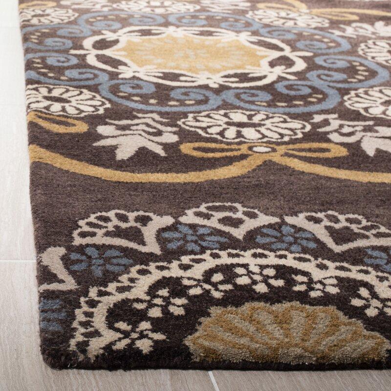 Winston Porter Matthews Hand Tufted Wool Cotton Brown Blue Area Rug Reviews Wayfair