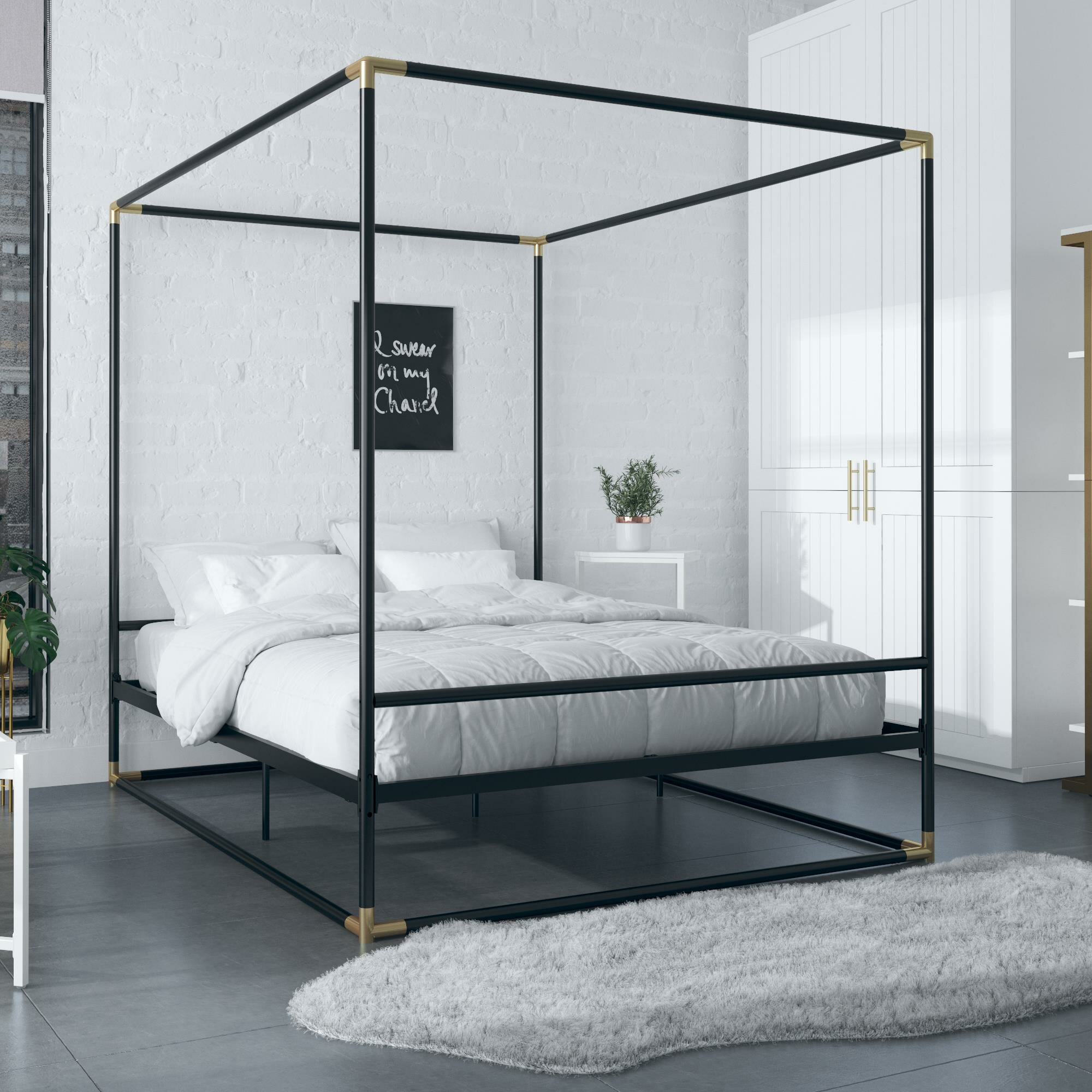 Cosmoliving By Cosmopolitan Celeste Metal Canopy Bed Reviews Wayfair