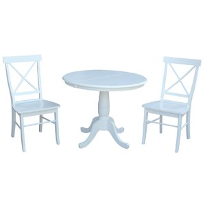 Petra Extendable Pedestal 3 Piece Bistro Set by August Grove