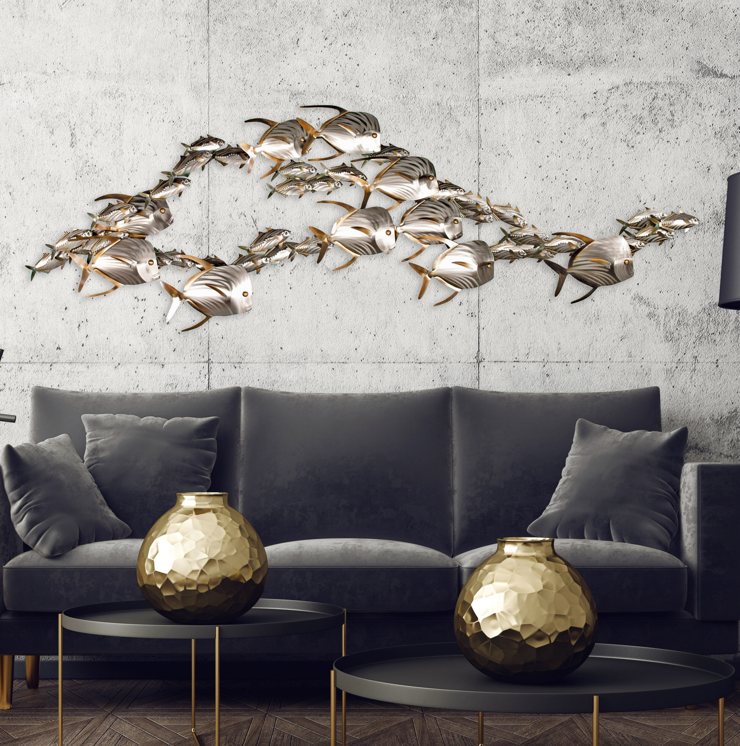 Rosecliff Heights Lookdown Fish And Sardines School X Large Metal Wall Decor Reviews Wayfair