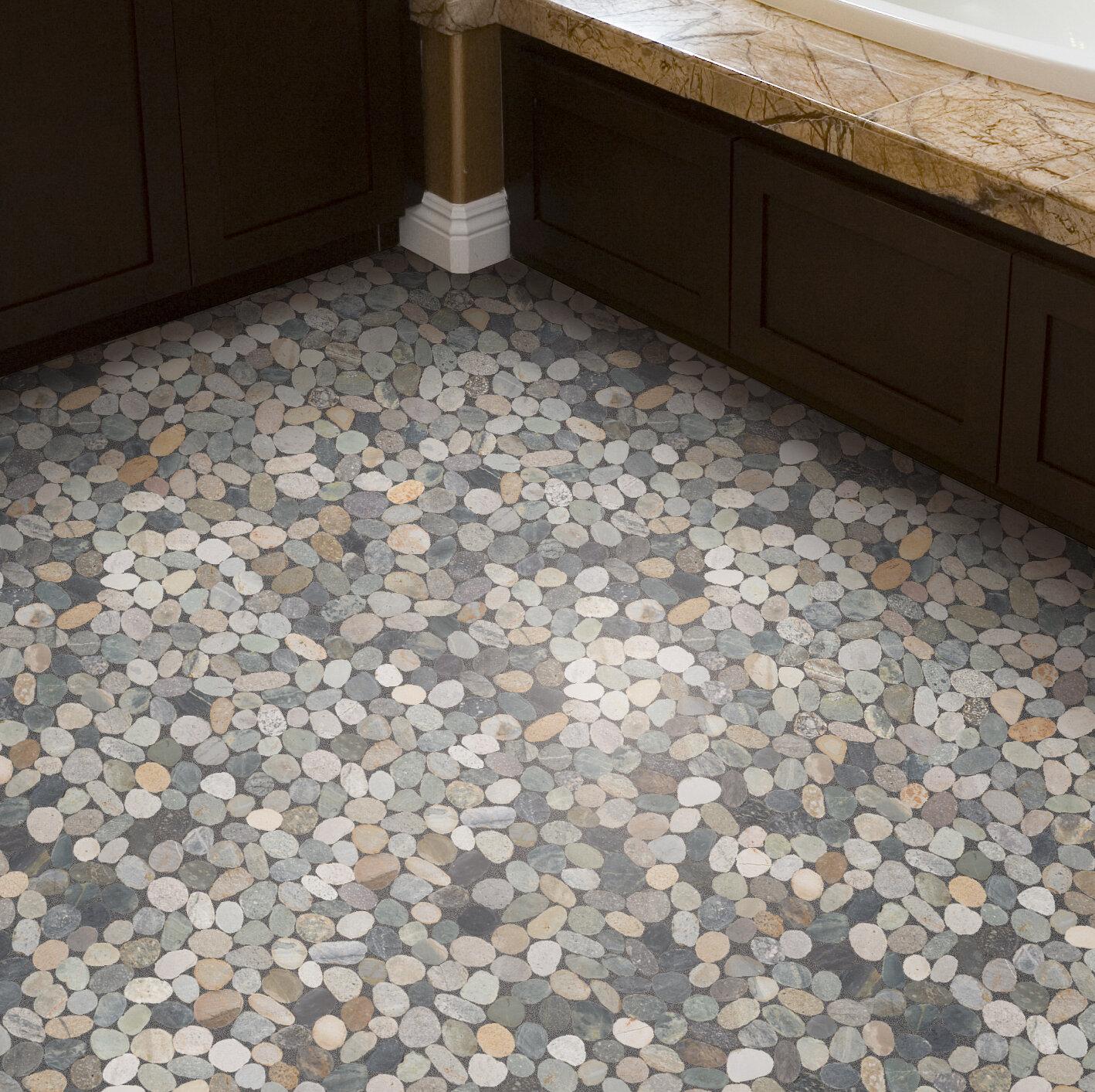 Pebble tile sliced random sized natural stone pebble tile in grey blend reviews wayfair