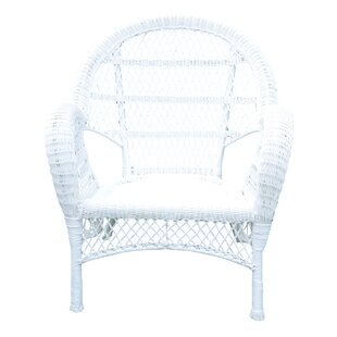 Jeco Inc. Wicker Armchair Chair (Set of 4)