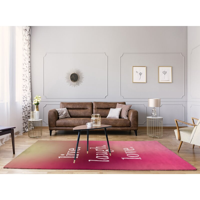 East Urban Home Multicolor Background Live Laugh Love Quote Poly Chenille Rug Wayfair