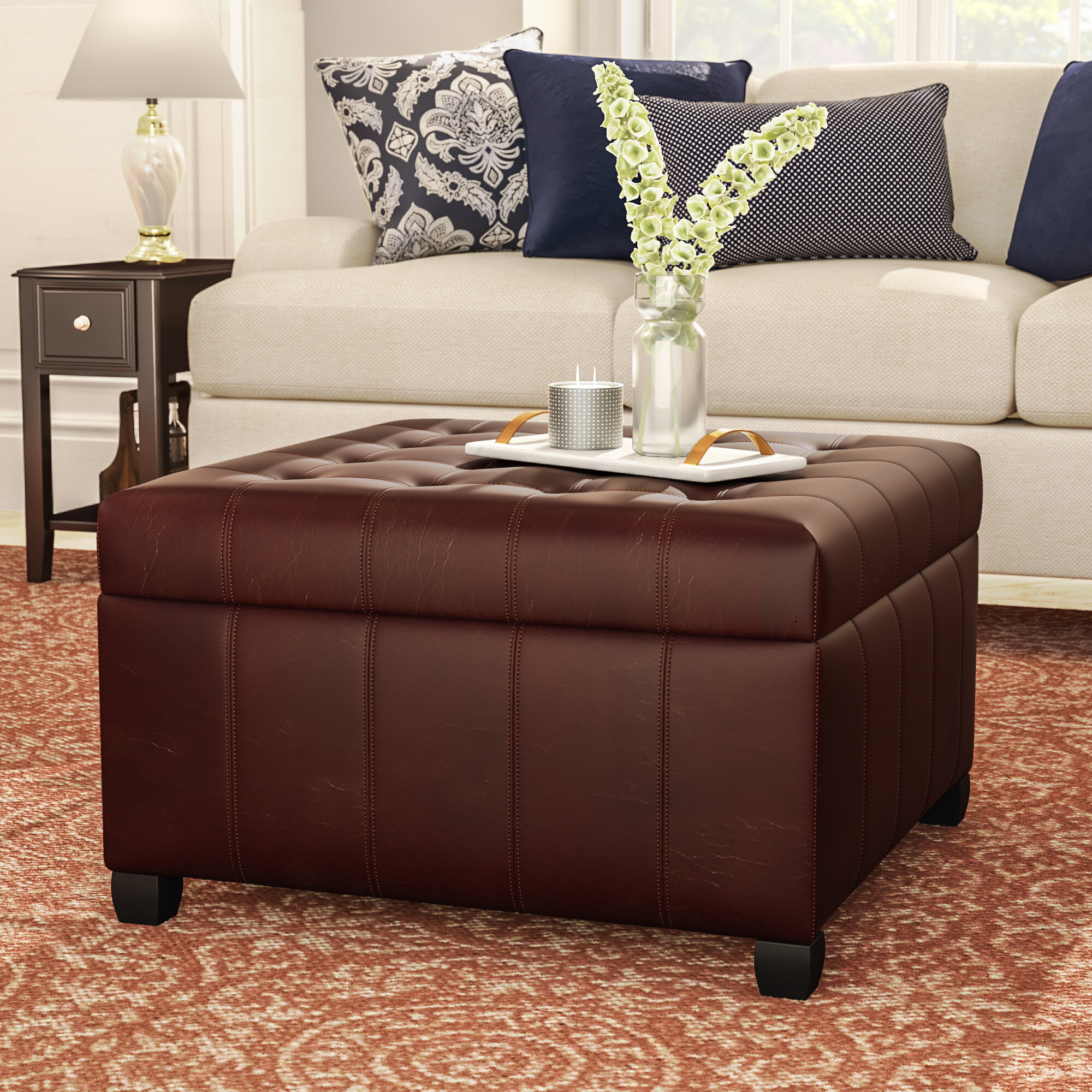 Merveilleux Francisville Leather Storage Ottoman