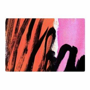 Iris Lehnhardt Strokes on Sherbet Abstract Black/Orange Area Rug
