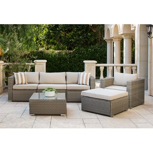 Outdoor 6 Piece Rattan Sofa Seating Group with Cushions by SOLAURA