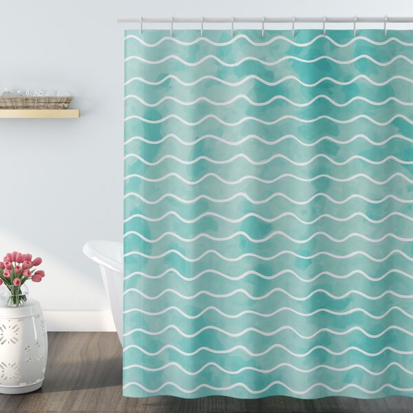 Highland Dunes Rossie Ocean Sea Wave Pattern Shower Curtain Reviews