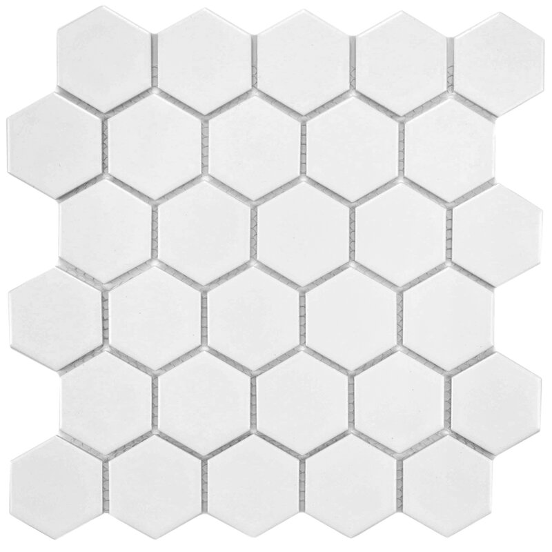 Retro Hexagon 2 X Heporcelain Mosaic Tile In White