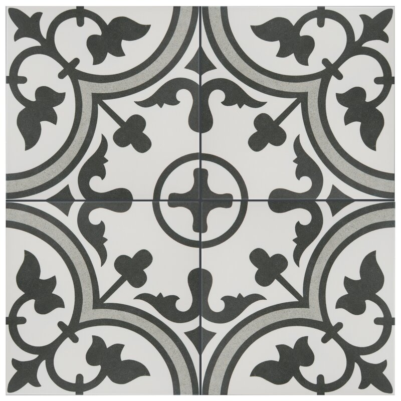 "Artea 10"" x 10"" Porcelain Patterned Wall & Floor Tile"