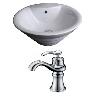 Affordable Ceramic Circular Vessel Bathroom Sink with Faucet and Overflow ByAmerican Imaginations
