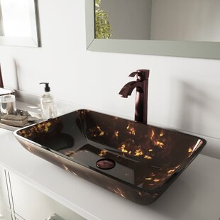 Affordable Fusion Glass Rectangular Vessel Bathroom Sink with Faucet By VIGO