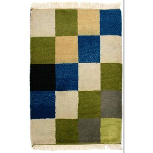 Tennyson Hand Hooked Wool Blue/Green/White Indoor/Outdoor Rug Image