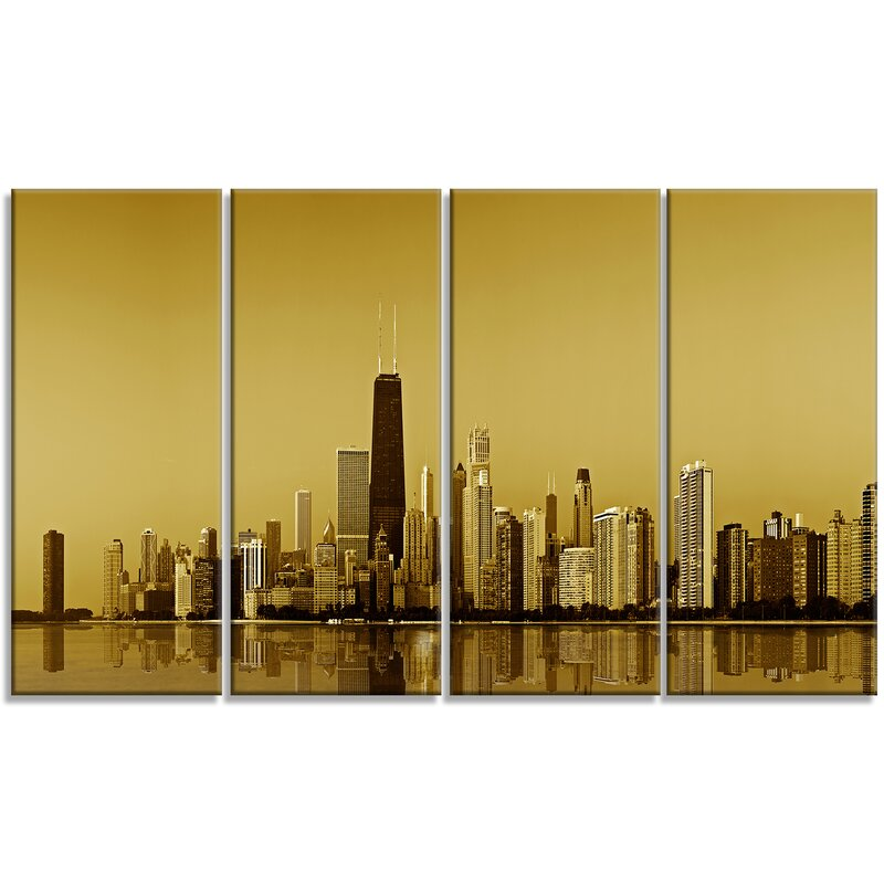 DesignArt \'Chicago Gold Coast with Skyscrapers\' 4 Piece Wall Art on ...