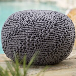 Highland Indoor/Outdoor Fabric Weave Pouf Ottoman by Bungalow Rose