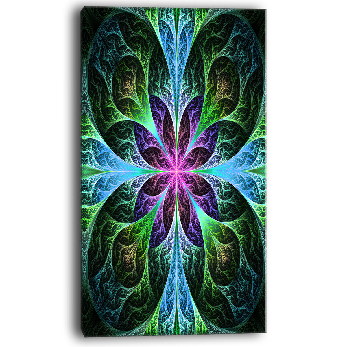 Designart Glowing Blue And Green Fractal Flower Pattern Graphic Art On Wrapped Canvas Wayfair
