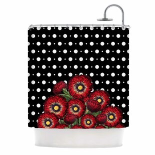 'Spring Pattern Floral Red' Mixed Media Shower Curtain by East Urban Home