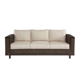 Asphod?le Wicker Patio Sofa with Cushions by Gracie Oaks