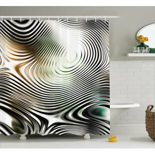 Abia Circle Zebra Stripes Single Shower Curtain