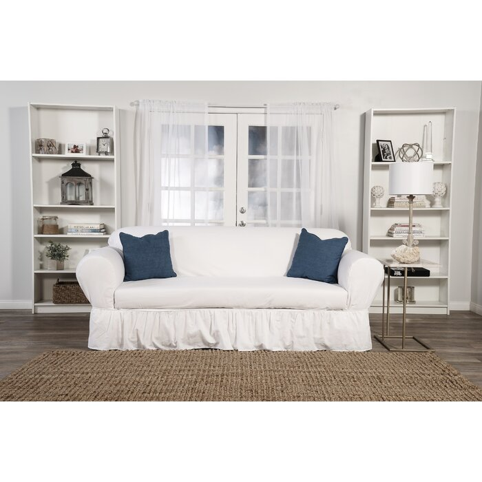 Amazing Sofa Skirted Box Cushion Sofa Slipcover Beatyapartments Chair Design Images Beatyapartmentscom