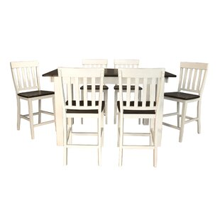 Aguero 7 Piece Counter Height Extendable Solid Wood Pub Table Set Canora Grey