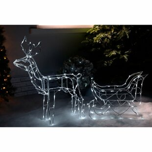 pre lit animated multi function reindeer and sleigh lighted display - Animated Lighted Reindeer Christmas Decoration