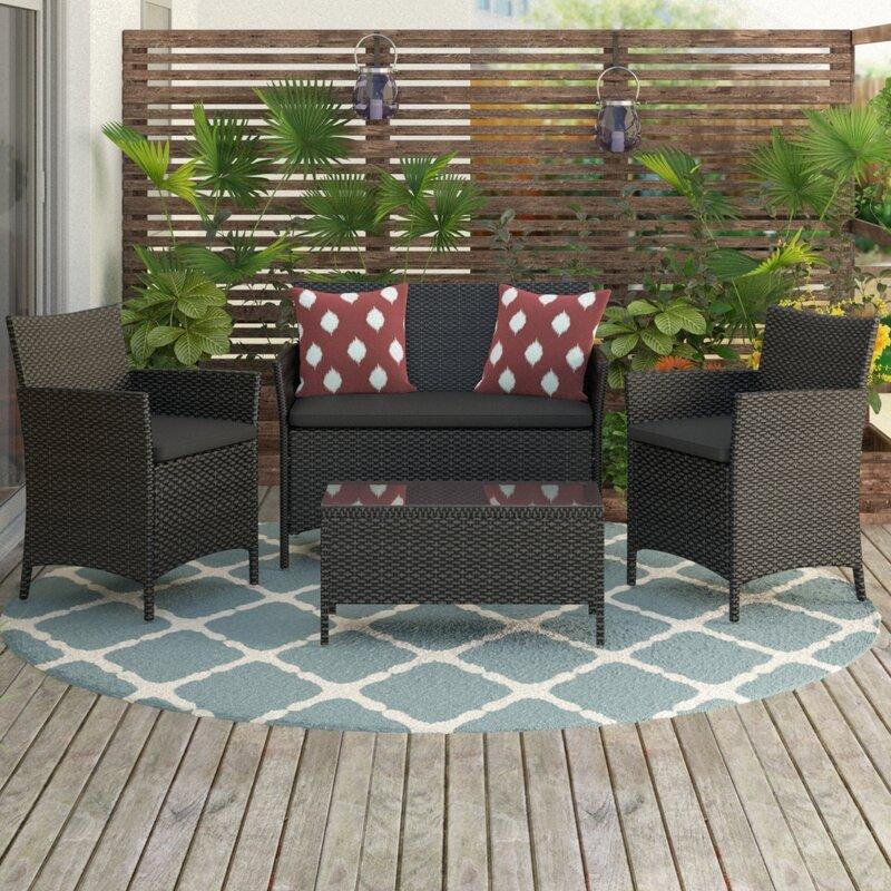 Neumann 4 Piece Sofa Set with Cushions