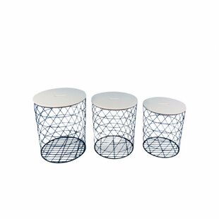 Brayden Studio Lakey Plush Covered Metal 3 Piece Nesting Tables