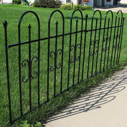 Fleur De Lis Living 3 Ft H X 8 Ft W Rubenstein Garden Landscape Metal Fence Panel Reviews Wayfair