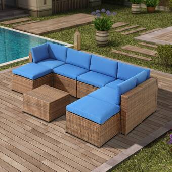 Bayou Breeze Aryan 4 Piece Rattan Sofa Seating Group With Cushions Reviews Wayfair