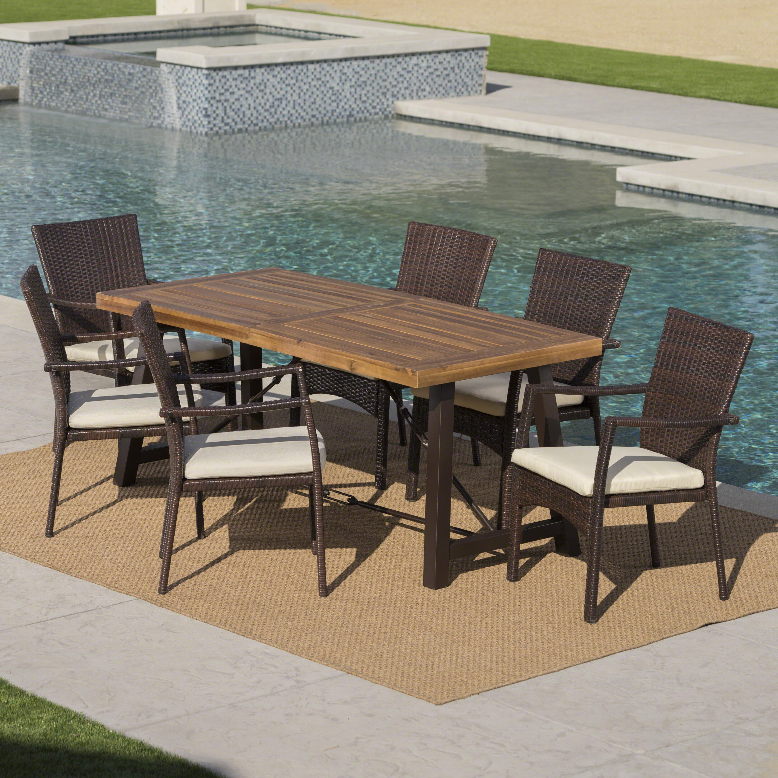 Charlton Home Avebury Outdoor 7 Piece Dining Set With Cushions Reviews Wayfair