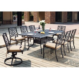 Astoria Grand Palazzo Sasso Traditional 9 Piece Dining Set with Cushions