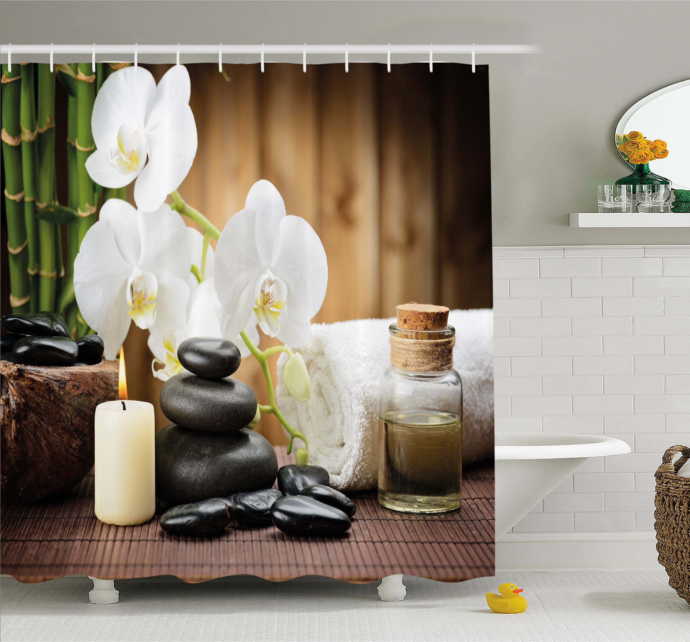 East Urban Home Spa Asian Style Decoration With Zen Stones Candle
