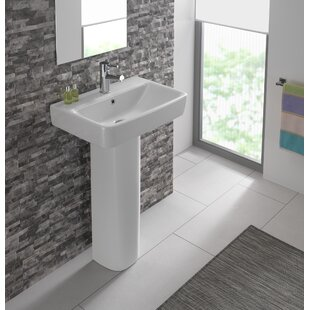 Check Prices Comprimo Vitreous China 22 Pedestal Bathroom Sink with Overflow By Bissonnet