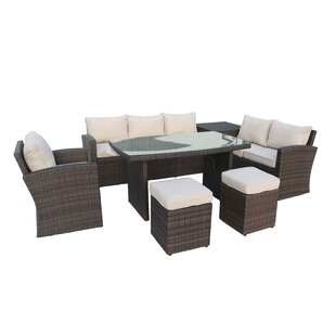 Messinger 7 Piece Rattan Sectional Seating Group with Cushions