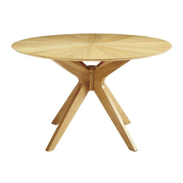 moderner runder Esstisch, Tischplatte Hochglanz weiß mit Messing Fuß in gold