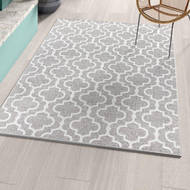 Bungalow Rose Baez Geometric Gray White Area Rug Reviews Wayfair