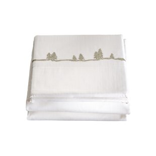 Hailee 4 Piece Embroidered Pines 200 Thread Count 100% Cotton Sheet Set