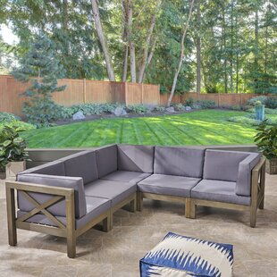 Ellison Patio Sectional with Cushions by Highland Dunes