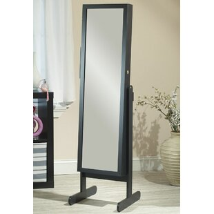 Three Posts Germaine Makeup Organizational Jewelry Armoire with Mirror