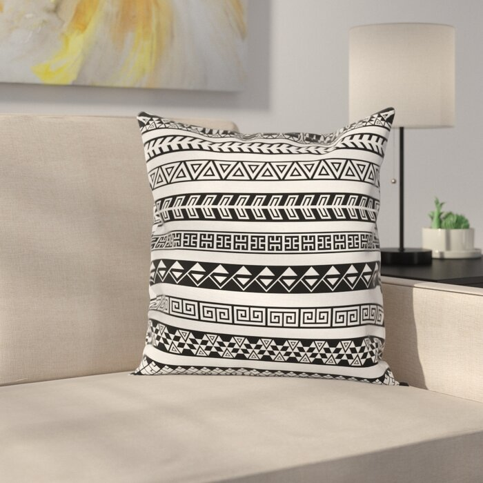 Boho Native American Borders Square Pillow Cover on