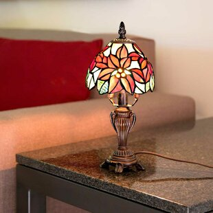 Bargain Arellano Poinsettia Tiffany Style Stained Glass 12.5 Table Lamp By August Grove