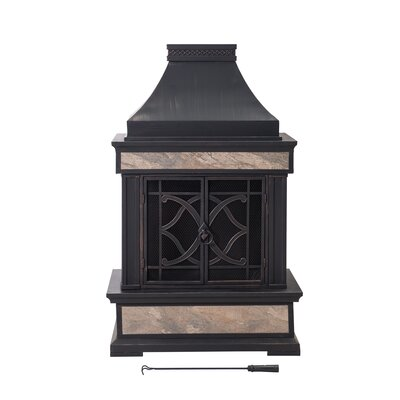 Stone Outdoor Fireplaces You'll Love in 2020 | Wayfair on Quillen Steel Wood Burning Outdoor Fireplace id=71736