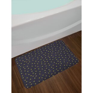 Ambesonne Night Sky Bath Mat By Hand Drawn Style Yellow Stars And White Dots Celestial Midnight Print Plush Bathroom Decor With Non Slip Backing