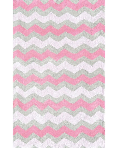 Chevron Cotton Pink Gray Area Rug