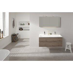 Belfry Bathroom 100 cm Wandmontierter Waschtisch Nuance mit Spiegel und Aufbewahrungsschrank