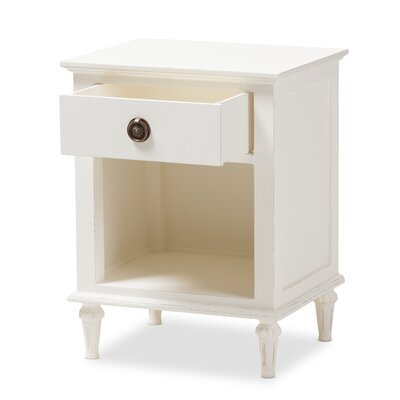 Michel 1 Drawer Nightstand Color: White Wash by August Grove