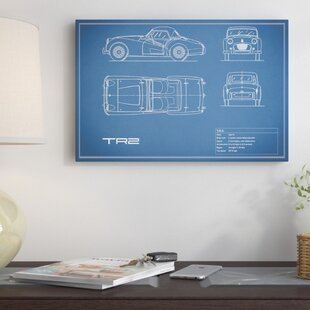 'Triumph TR2' Graphic Art Print on Canvas in Blue By East Urban Home