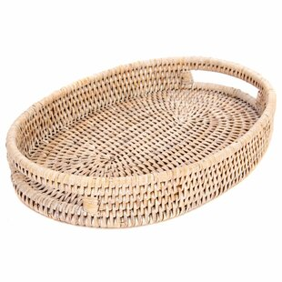 Rattan Oval Tray with Cutout Handles