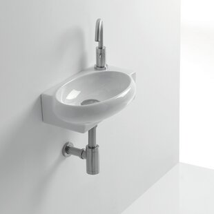 Top Whitestone Zetta Ceramic 17 Wall Mount Bathroom Sink with Overflow ByWS Bath Collections
