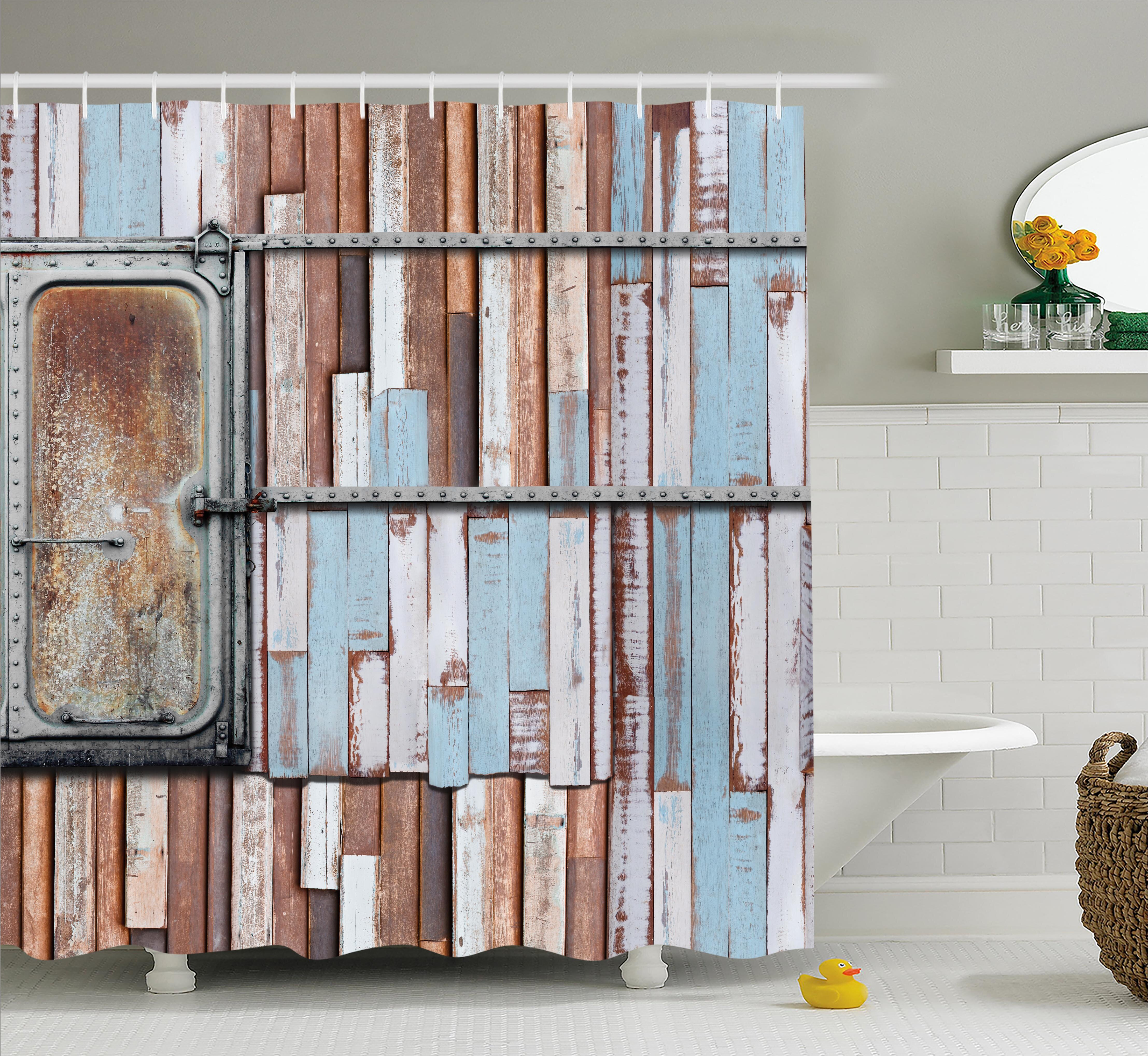 Spears Wooden Rustic Colored Rusty Planks With Old Ship Door Marine Themed Artwork Single Shower Curtain